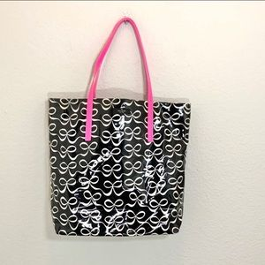 Kate spade black white bows pink straps tote bag